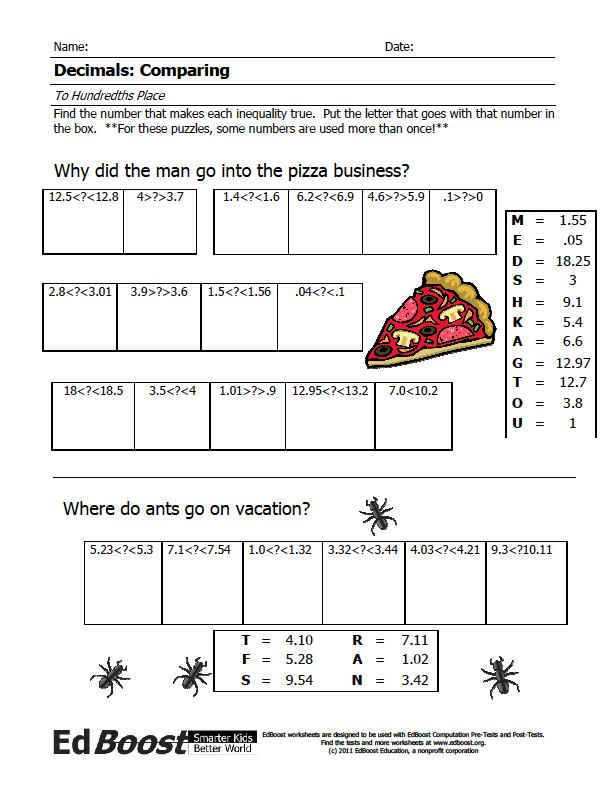 Printable Worksheets free absolute value worksheets : Decimals: Comparing (Hundredths Place) Puzzle | EdBoost