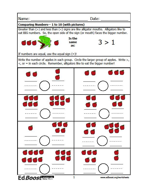 Comparing Numbers Up to 10 with pictures – Compare Numbers Worksheet