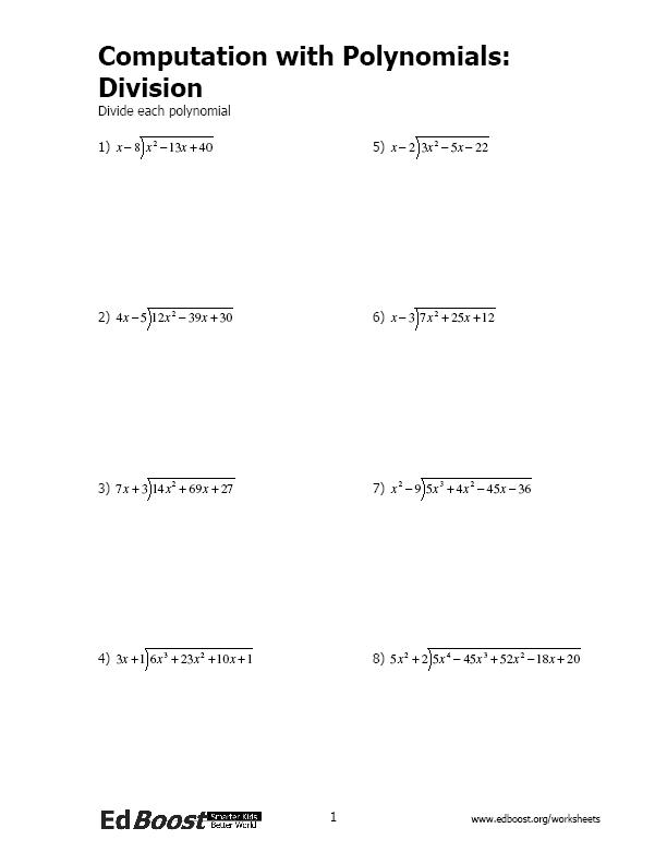 Computation with Polynomials Division – Synthetic Division Worksheets