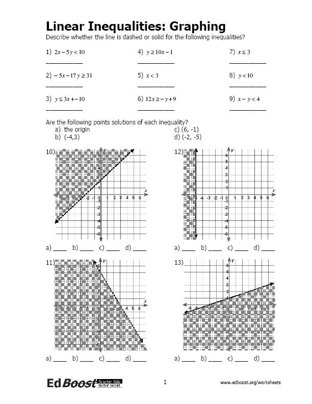 Graphing Linear EquationsInequalities – Graphing Inequalities in Two Variables Worksheet