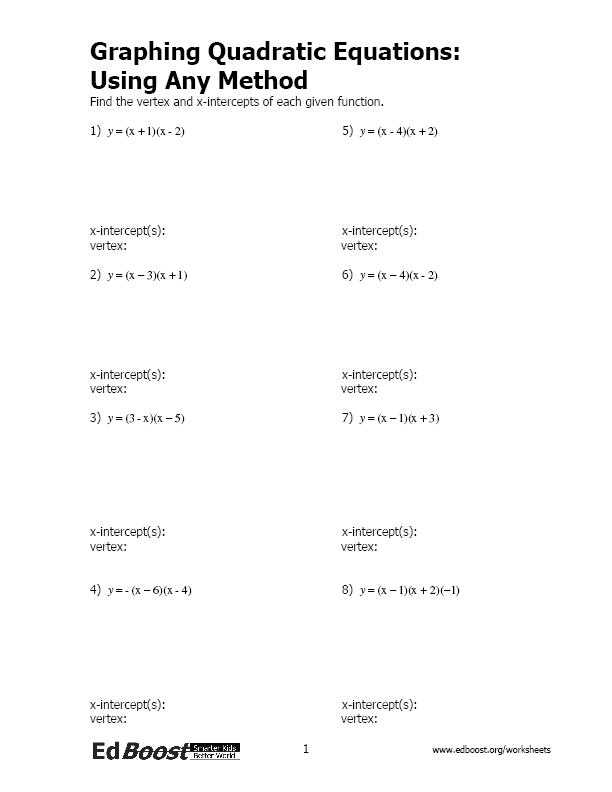 Algebra 2 solving Quadratic Equations by Factoring Worksheet ...