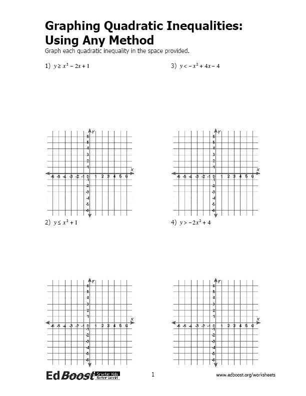 Printables Graphing Quadratic Inequalities Worksheet graphing quadratic inequalities using any method edboost method