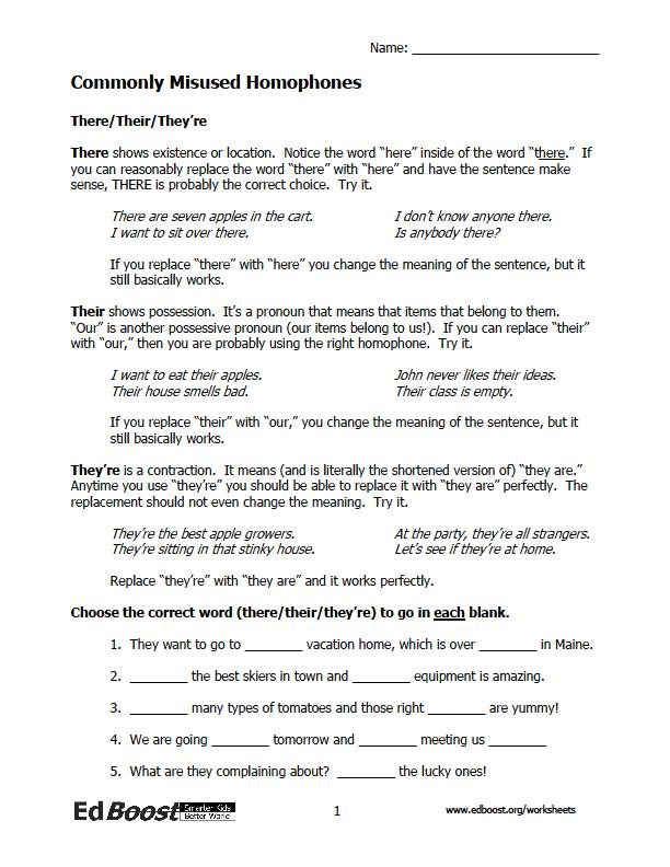 Printables Homophones Worksheet 5th Grade homophone worksheets edboost worksheets