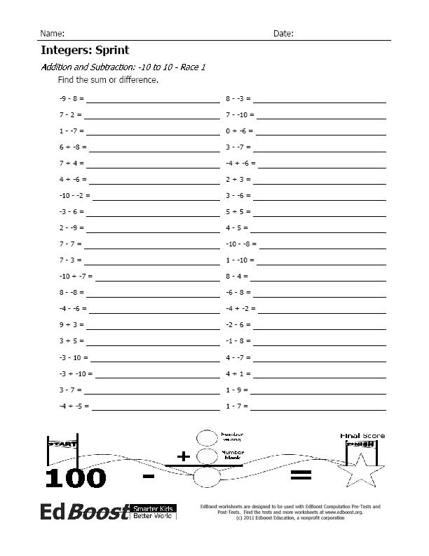 Integers Sprint Addition and Subtraction 10 to 10 – Addition of Integers Worksheet