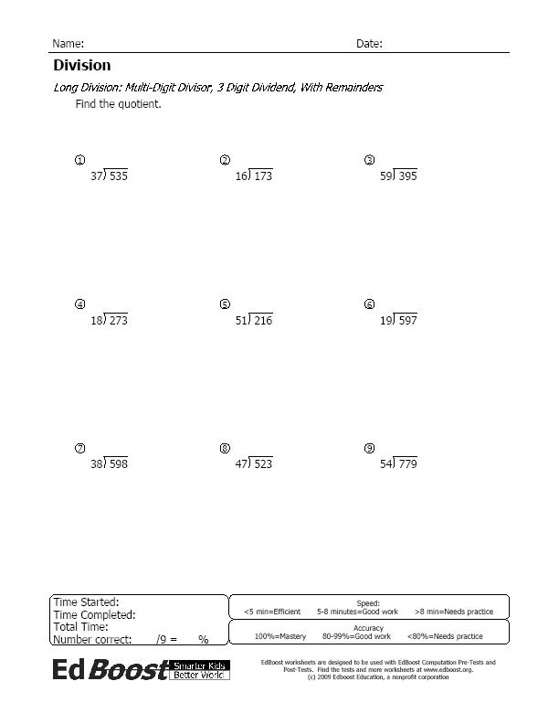 Worksheets Multi Digit Division Worksheets division edboost long with remainders multi digit divisor 3 dividend