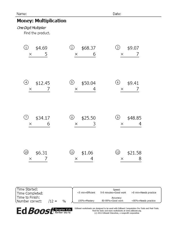 Multiplying Money Worksheets. Math Worksheets Extra Facts Easy Money ...