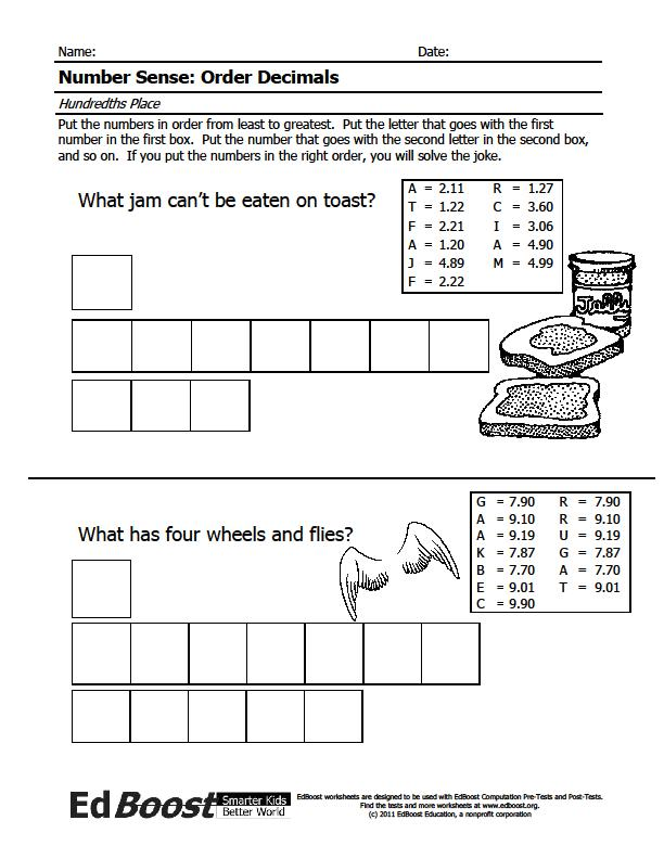 Comparing and Ordering Decimals – Comparing Decimal Worksheet