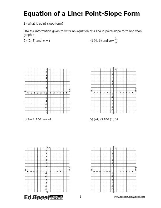 Equation of a Line PointSlope Form – Writing Linear Equations Worksheet