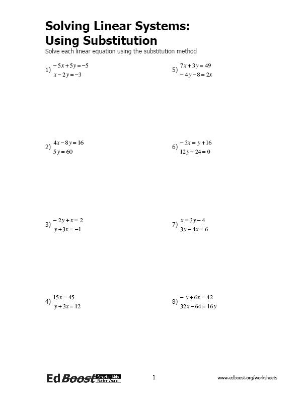 Solving Linear Systems Using Substitution – Solving Systems of Equations Substitution Worksheet