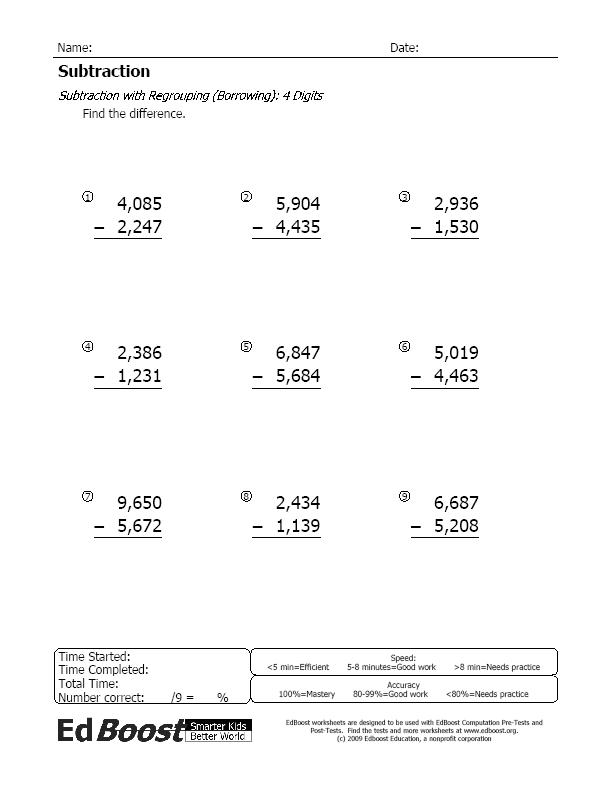 Subtraction – 4 Digit Subtraction with Regrouping Worksheets 4th Grade