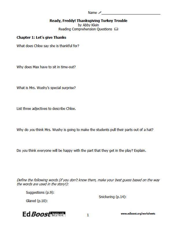 Ready Freddy Thanksgiving Turkey Trouble Reading Comprehension – Thanksgiving Comprehension Worksheets