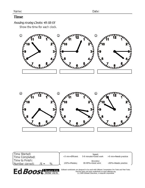 Time: Reading Analog Clocks, 45-50-55 Minutes | EdBoost