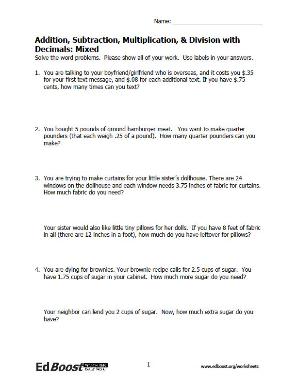 math worksheet : word problems decimals  mixed operations  edboost : Decimal Word Problem Worksheets