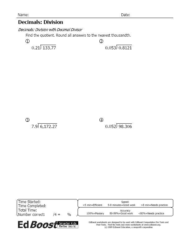 Division Worksheets decimals division worksheets : Division with Decimals | EdBoost