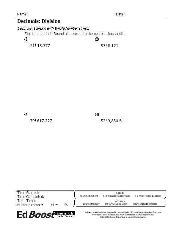4th Grade prime and composite worksheets 4th grade : Decimals | EdBoost