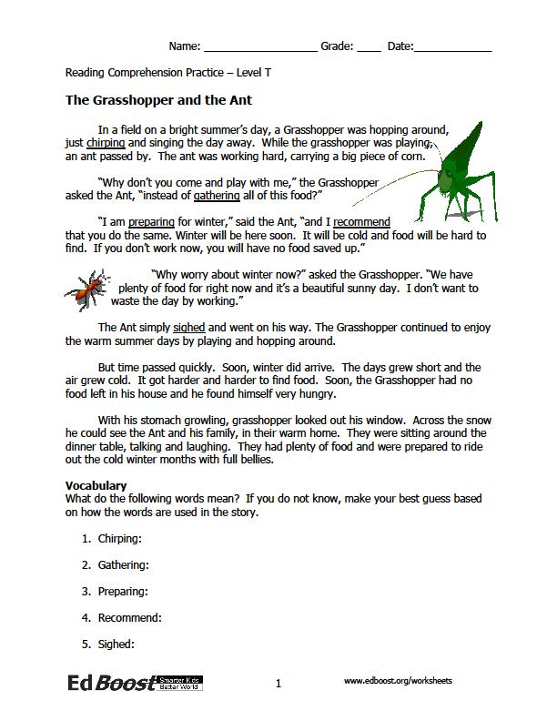 Printable Worksheets the grasshopper and the ant worksheets : Reading Comprehension: 3rd Grade Fables | EdBoost