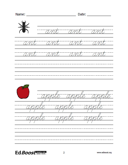 Letters Cursive Practice Letters and Words